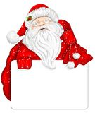 Santa Claus holds banner for text Royalty Free Stock Photography