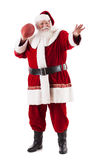 Santa Claus Holds Football And Is som är klar att kasta Royaltyfri Bild