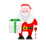 Santa Claus holds a gift box Royalty Free Stock Photography