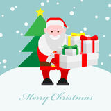 Santa claus holds a lot of gifts Royalty Free Stock Images