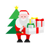 Santa Claus holds many gifts Stock Image