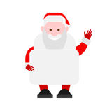 Santa Claus holds a presentation card Royalty Free Stock Photos