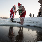 Santa Claus in the hole Stock Image