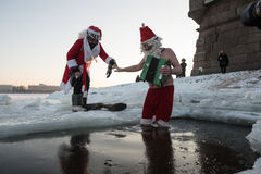 Santa Claus in the hole Royalty Free Stock Photo
