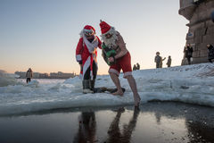 Santa Claus in the hole Royalty Free Stock Image