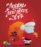 Santa claus with holes in bag for 2017 new year. Poster. Holiday festive or celebration placard with santa claus bringing gifts and presents. May be used for Stock Photography