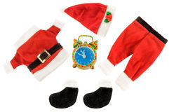 Santa Claus holiday suit with alarm clock on white. Royalty Free Stock Photos