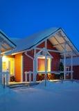Santa Claus Holiday Village Houses em Lapland Escandinávia fotografia de stock royalty free