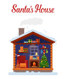 Santa claus home or house. 2017 happy new year and merry christmas or xmas eve building with gifts and presents. May be. Used for celebration placard or Royalty Free Stock Photography