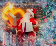 Santa Claus in home interior Royalty Free Stock Photos