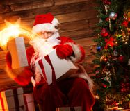Santa Claus in home interior Stock Photos