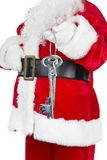 Santa Claus with home key Royalty Free Stock Photo