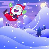 Santa Claus hopping in Christmas night Stock Image