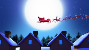 Santa Claus. Hopping Between Rooftops - Computer Animation royalty free illustration