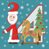 Santa Claus and horse. New year 2014. Santa, wooden horse and christmas tree. Symbolical figures of New year 2014. Congratulatory card Stock Photos