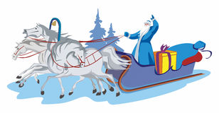 Santa Claus and horses Stock Images