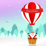 Santa Claus on a hot air balloon Stock Photography