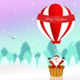 Santa Claus on a hot air balloon Stock Photography