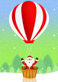 Santa Claus on hot air balloon. Illustration of Santa Claus on hot air balloon Stock Image