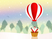 Santa Claus on a hot air balloon Royalty Free Stock Photography