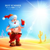 Santa Claus hot in summer. Stock Photo