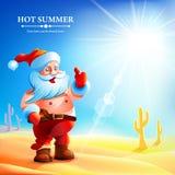 Santa Claus hot in summer. Stock Photo