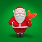 Santa Claus houdt lolly in de vorm van vurige haan als Chinees symbool van het jaar van 2017 Stock Fotografie