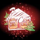 Santa Claus'house с предпосылкой рождества и вектором поздравительной открытки иллюстрация штока
