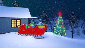 Santa Claus house decorated for Christmas at night. House of Santa Claus decorated for Christmas with Santas sleigh full of gifts and outdoor Christmas tree on Royalty Free Stock Photos