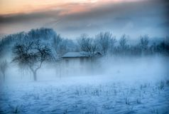 The Santa Claus house in the fog stock image