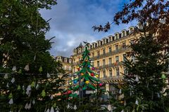 Santa Claus house, Place du Capitole on christmas in Toulouse, France. royalty free stock photography