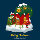 Santa Claus house troll Christmas New Year flat isometric vector Stock Images