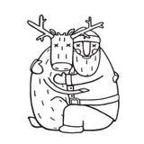 Santa Claus Hug com projeto liso do esboço dos cervos ilustração stock