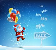 Santa Claus in a hurry to sell and discounts Royalty Free Stock Images