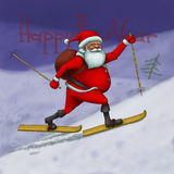 Santa Claus hurry to skiing Royalty Free Stock Photography