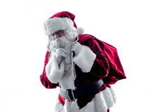 Santa claus Hushing silhouette isolated Royalty Free Stock Photos