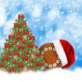 Santa Claus-Hut, Uhr und Weihnachtsbaum Stockbilder
