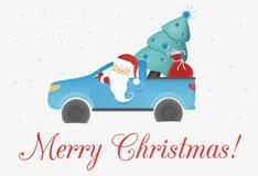 Santa Claus i bilen med jul royaltyfri illustrationer