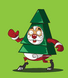 Santa Claus i en dräkt av julgranen Vektor Illustrationer