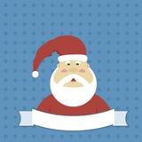 Santa Claus i en dräkt och ett tecken för annonsering av text Arkivbild