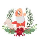 Santa Claus i en julkrans som läser en rulle av papper Vektorillustration som isoleras på vit bakgrund Arkivbilder