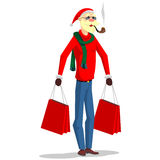 Santa Claus i en stilfull klänning Arkivfoton