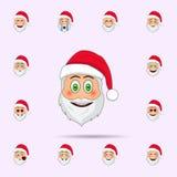 Santa Claus, i f?rv?nat, leendeemojisymbol Universell upps?ttning f?r Santa Claus Emoji symboler f?r reng?ringsduk och mobil vektor illustrationer