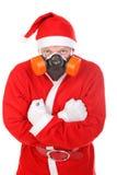 Santa Claus i gasmask Royaltyfria Bilder