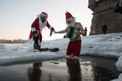 Santa Claus i hålet Royaltyfri Foto