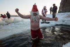 Santa Claus i hålet Royaltyfria Foton