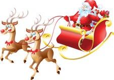 Santa Claus i hans släde Arkivbilder
