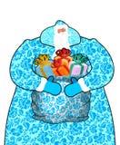 Santa Claus i Ryssland Natio för gzhel för målning för faderFrost dräkt Arkivbild
