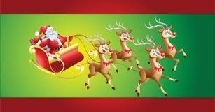 Santa Claus i släde Royaltyfri Bild