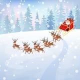 Santa Claus i släde 2 Royaltyfri Foto